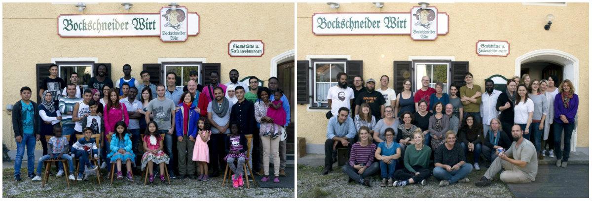 Team und Flüchtlinge vor und hinter der Kamera Die Herberge Film und Spot