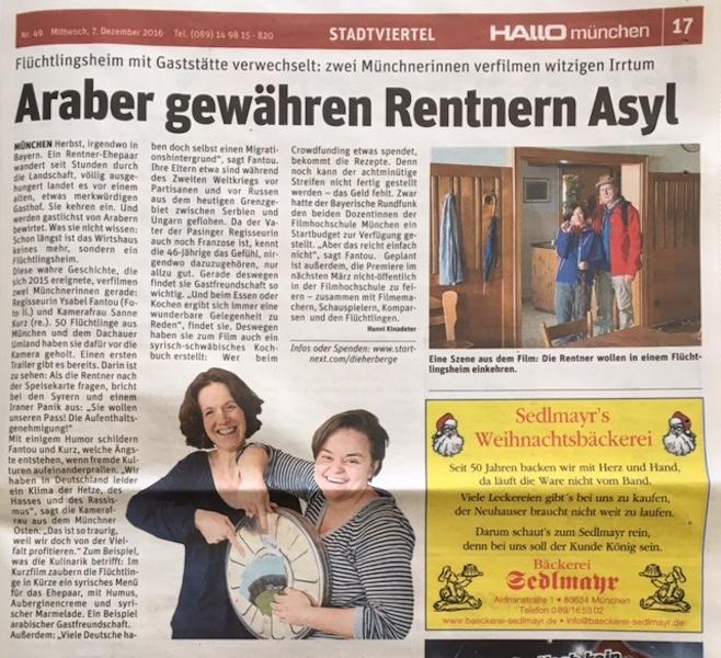 DieHerberge_Artikel_Hallo_Zeitung_Ysabel_Fantou_Susanne_Kurz_Film